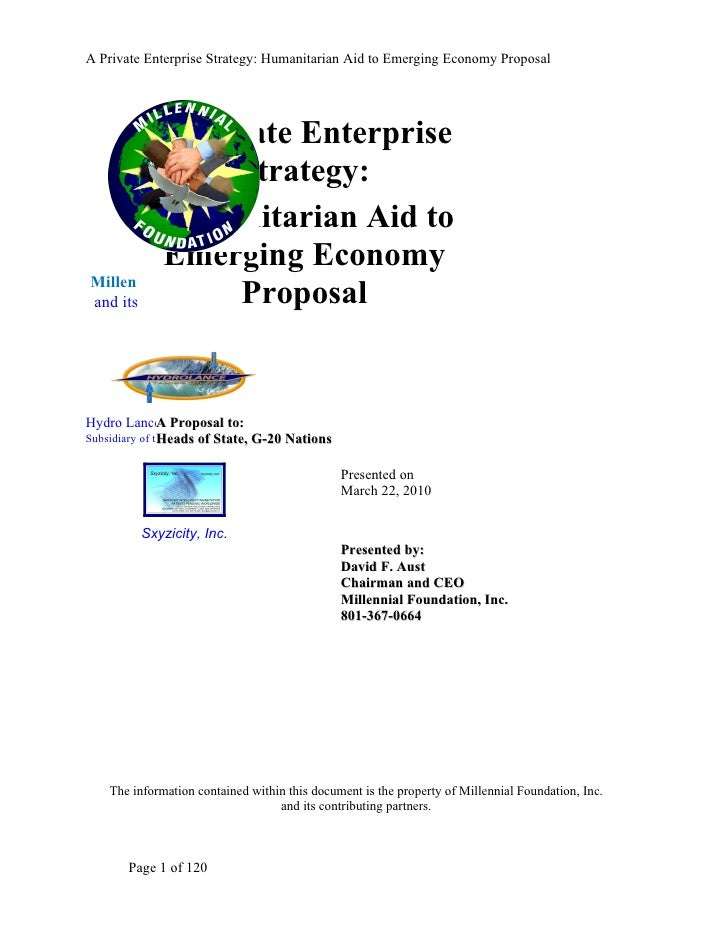 A Private Enterprise Strategy: Humanitarian Aid to Emerging Economy Proposal               A Private Enterprise           ...