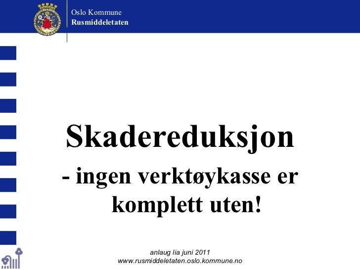 <ul><li>Skadereduksjon </li></ul><ul><li>- ingen verktøykasse er komplett uten! </li></ul>anlaug lia juni 2011 www.rusmidd...