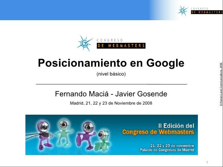 Posicionamiento en Buscadores Básico (Human Level Communications en Congreso de Webmasters 2008)