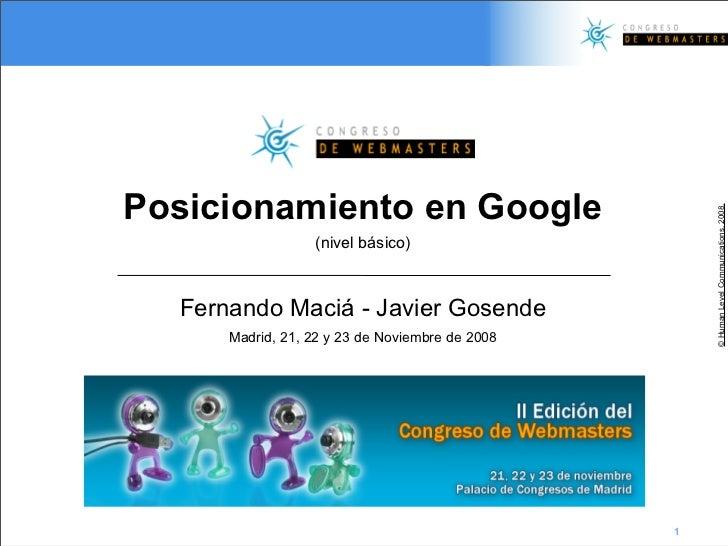 Posicionamiento en Google                                                          © Human Level Communications, 2008.    ...