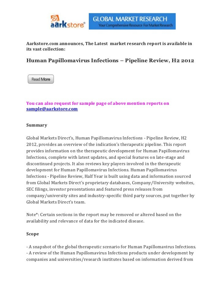 Human papillomavirus infections – pipeline review, h2 2012