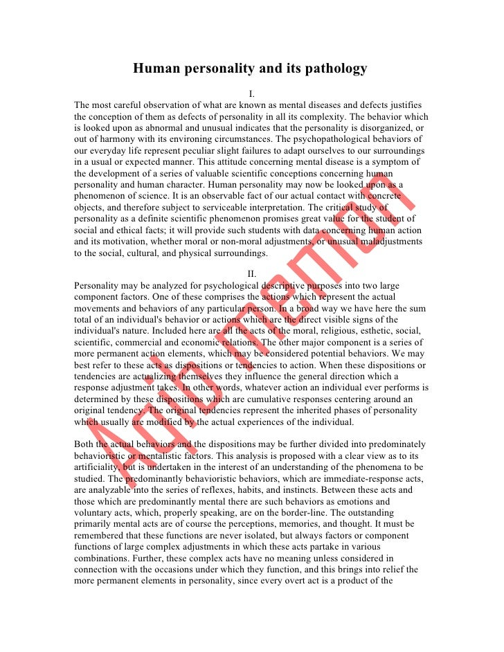 Human personality and its pathology                                               I.The most careful observation of what a...