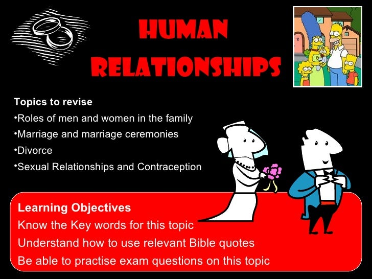 Human               RelationshipsTopics to revise•Roles of men and women in the family•Marriage and marriage ceremonies•Di...