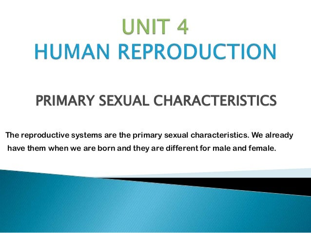 PRIMARY SEXUAL CHARACTERISTICSThe reproductive systems are the primary sexual characteristics. We alreadyhave them when we...