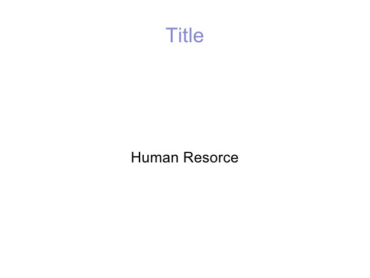 Title Human Resorce