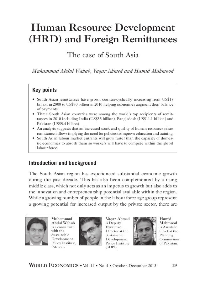 Human Resource Development (HRD) and Foreign Remittances The case of South Asia Muhammad Abdul Wahab, Vaqar Ahmed and Hami...