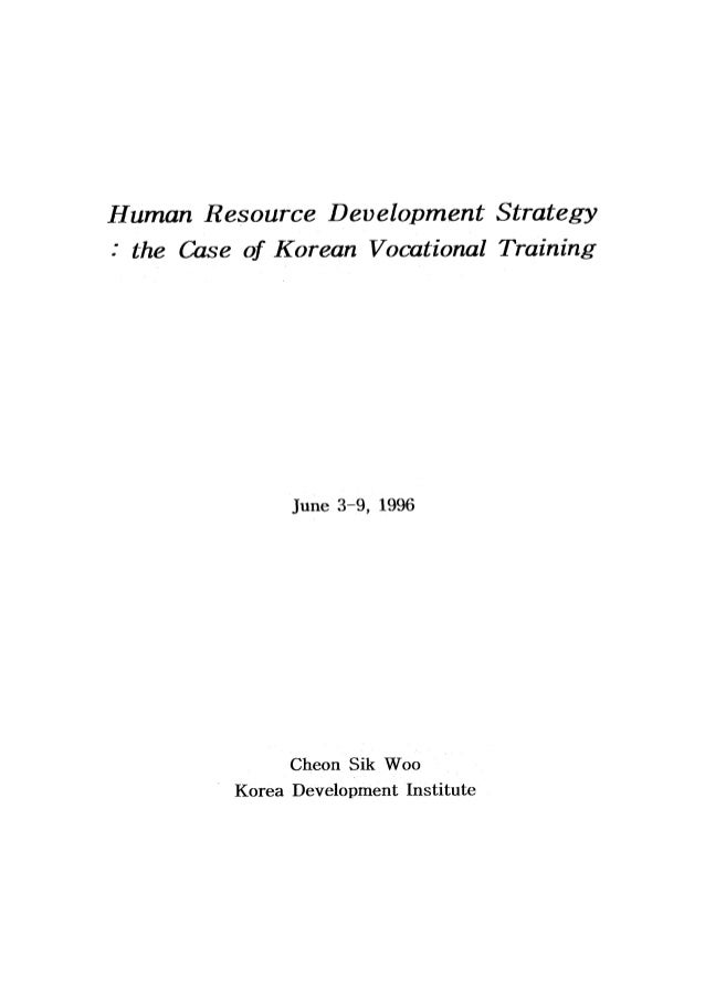Human Resource Development Strategy (The Case of Korean Vocational Training)