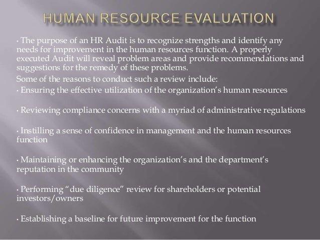 evaluating the human resource function Human resource evaluation in unicef strategic review of human resource the findings of the strategic review of human resource management made a significant input to the hrm function unicef's overall hrm system and processes are.