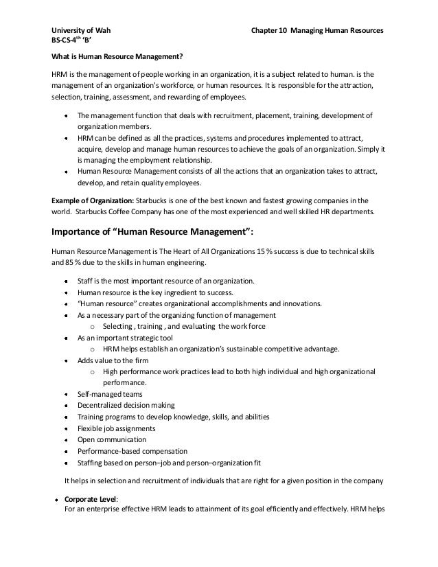 University of Wah Chapter 10 Managing Human ResourcesBS-CS-4th'B'What is Human Resource Management?HRM is the management o...