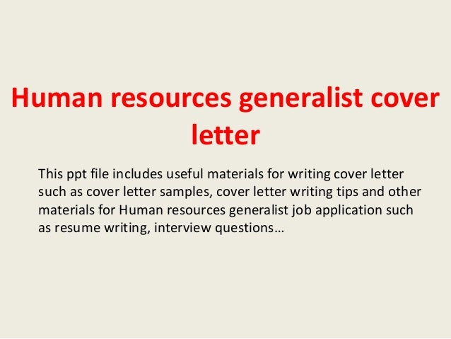 Human Resources Generalist Cover Letter