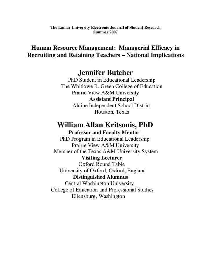The Lamar University Electronic Journal of Student Research                               Summer 2007    Human Resource Ma...