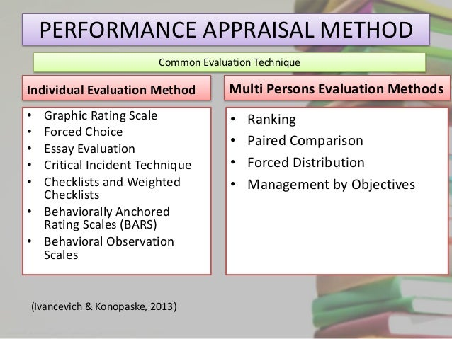 methods of preformance apprisal The objective of this paper is to review common performance appraisal methods  and identify the best approach for manufacturing industries different.