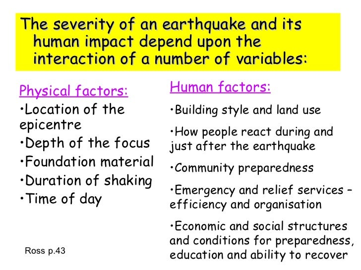 earthquakes - the diverse variety of physical and human factors essay The christchurch series of earthquakes is more complex than [say] a hurricane in that there is an inherent threat in the continuing aftershocks that can last for many months, exposing people to.
