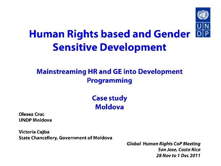 Human Rights-based and Gender Sensitive Development