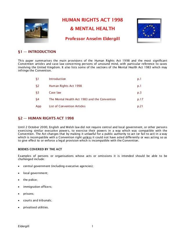 HUMAN RIGHTS ACT 1998                                           & MENTAL HEALTH                                        Pro...