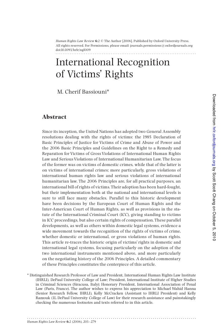 Human rights law review   international recognition of victims' rights