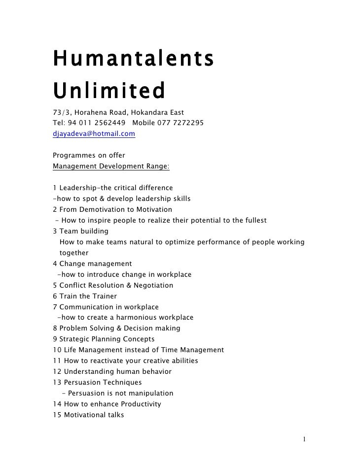 Humantalents Training Programmes 2011