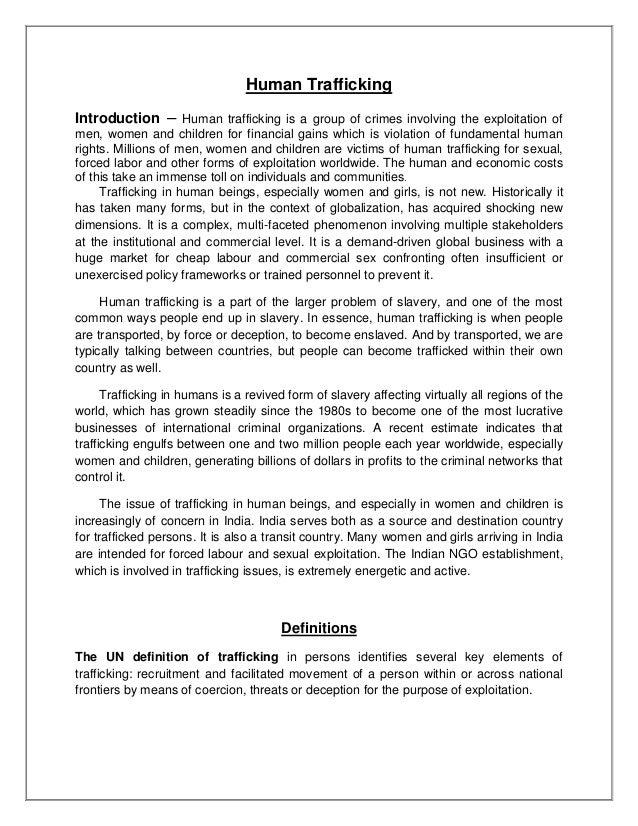 Human trafficking essay introduction