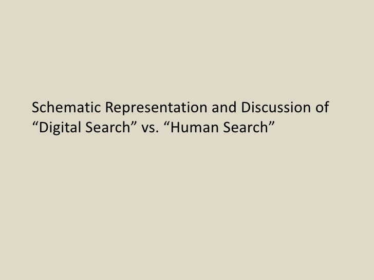 "Schematic Representation and Discussion of ""Digital Search"" vs. ""Human Search"""