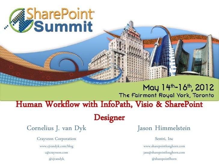Human Workflow with InfoPath, Visio & SharePoint                  Designer  Cornelius J. van Dyk         Jason Himmelstein...
