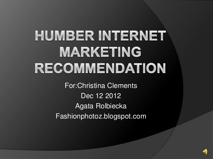 Humber internet marketing recommendation