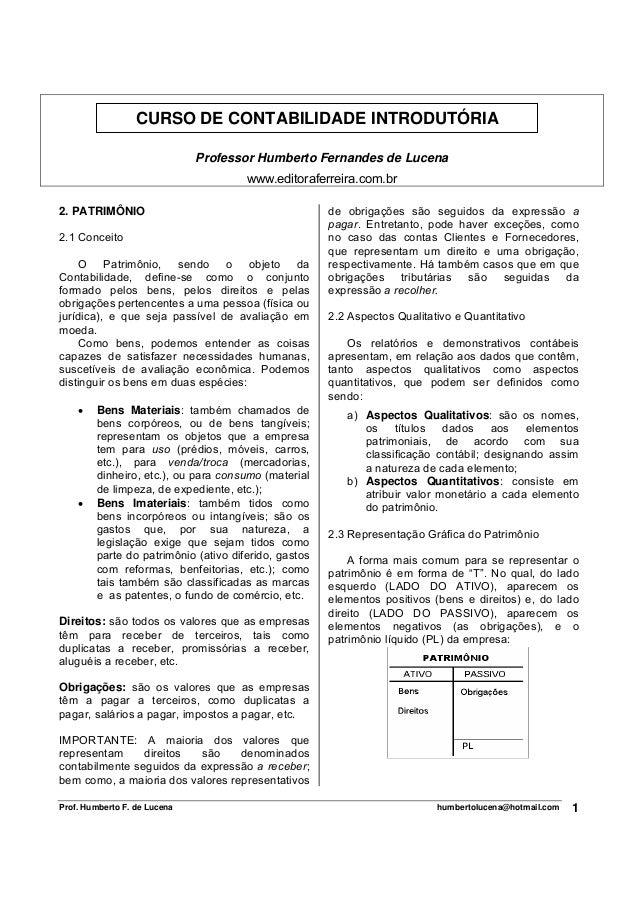 CURSO DE CONTABILIDADE INTRODUTÓRIA                              Professor Humberto Fernandes de Lucena                   ...