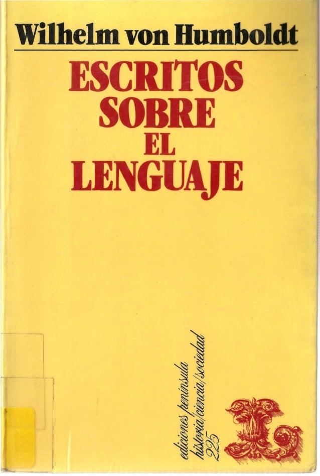 Humboldt, Wilhelm von. Escritos sobre el lenguaje