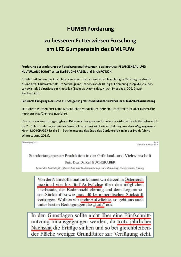 HUMER Forderung zu besseren Futterwiesen Forschung am LFZ Gumpenstein des BMLFUW Forderung der Änderung der Forschungsausr...
