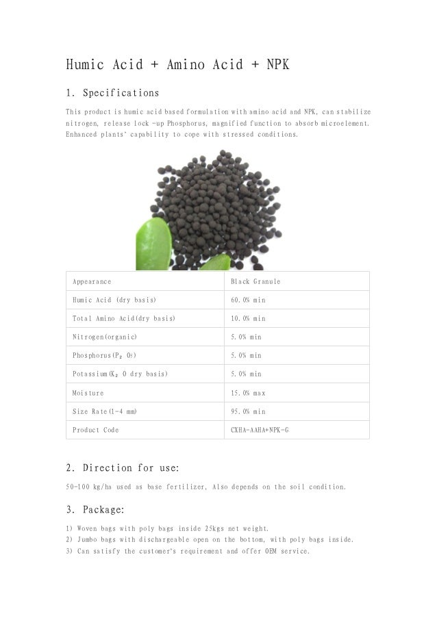Humic Acid + Amino Acid + NPK1. SpecificationsThis product is humic acid based formulation with amino acid and NPK, can st...