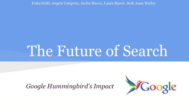 Erika Folkl, Angela Compton, Andre Moore, Laura Marsh, Beth Anne Weiler  The Future of Search Google Hummingbird's Impact