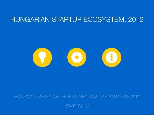 HUNGARIAN STARTUP ECOSYSTEM, 2012  ECONOMIC SNAPSHOT OF THE HUNGARIAN STARTUP ECOSYSTEM IN 2012 STARTUPS.HU