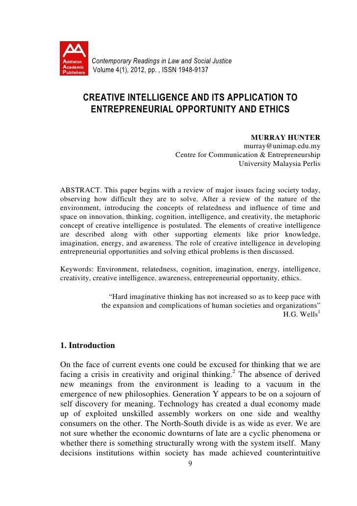 CREATIVE INTELLIGENCE AND ITS APPLICATION TO