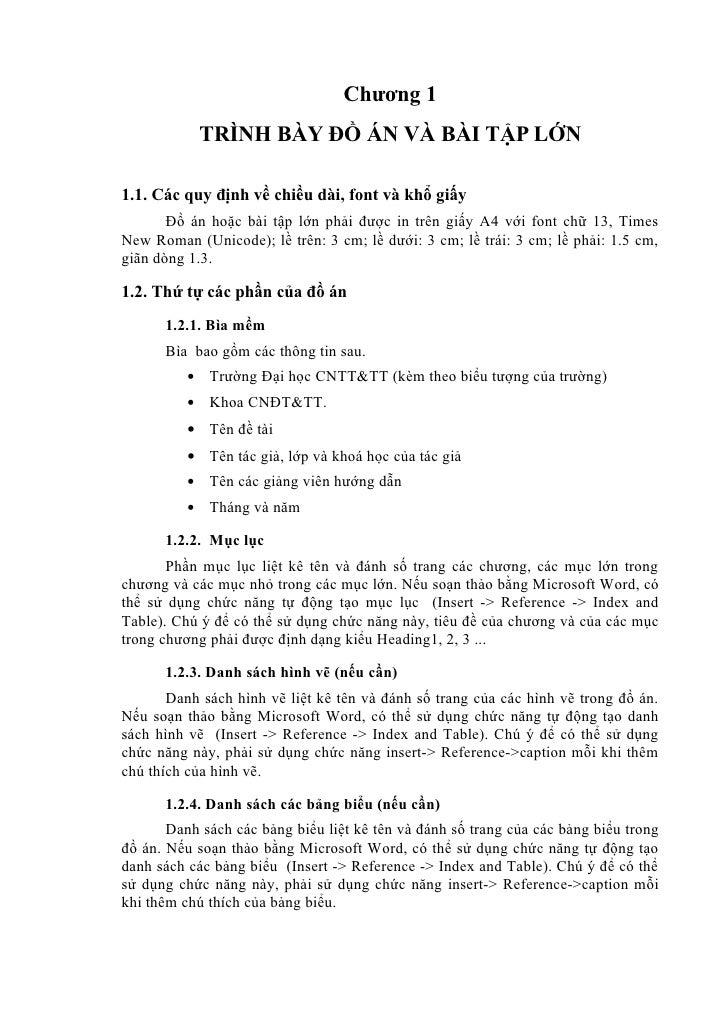 Chương 1              TRÌNH BÀY ĐỒ ÁN VÀ BÀI TẬP LỚN1.1. Các quy định về chiều dài, font và khổ giấy       Đồ án hoặc bài ...