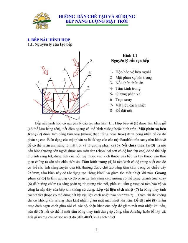 HƯỚNG DẪN CHẾ TẠO VÀ SỬ DỤNG BẾP NĂNG LƯỢNG MẶT TRỜI  I. BẾP NẤU HÌNH HỘP 1.1. Nguyên lý cấu tạo bếp Hình 1.1 Nguyên lý cấ...