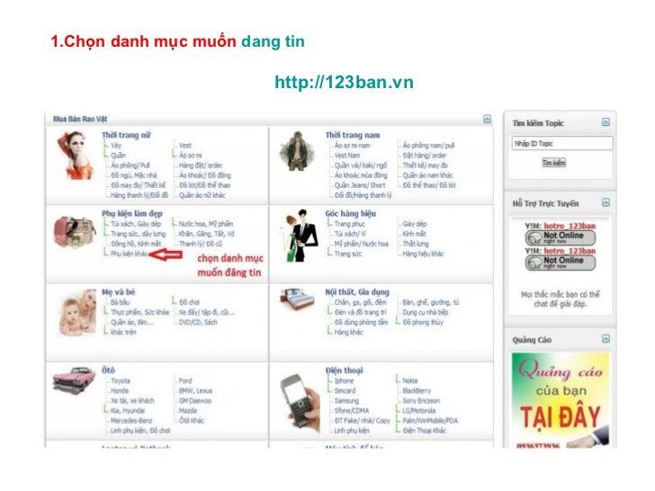 1.Chọn danh mục muốn  dang tin   http://123ban.vn