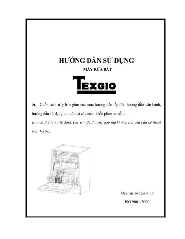 Hướng dẫn lắp đặt và vận hành máy rửa bát Texgio