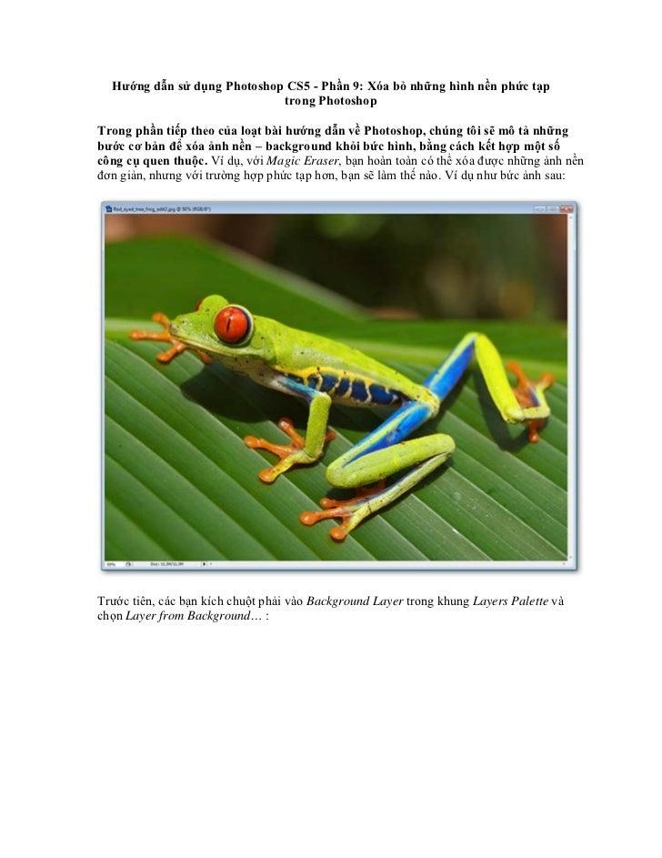 Hướng dẫn sử dụng Photoshop CS5 - Phần 9: Xóa bỏ những hình nền phức tạp                             trong PhotoshopTrong ...