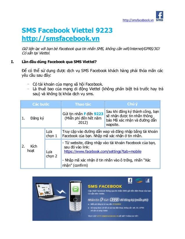 http://smsfacebook.vn     SMS Facebook Viettel 9223     http://smsfacebook.vn     Giữ liên lạc với bạn bè Facebook qua tin...