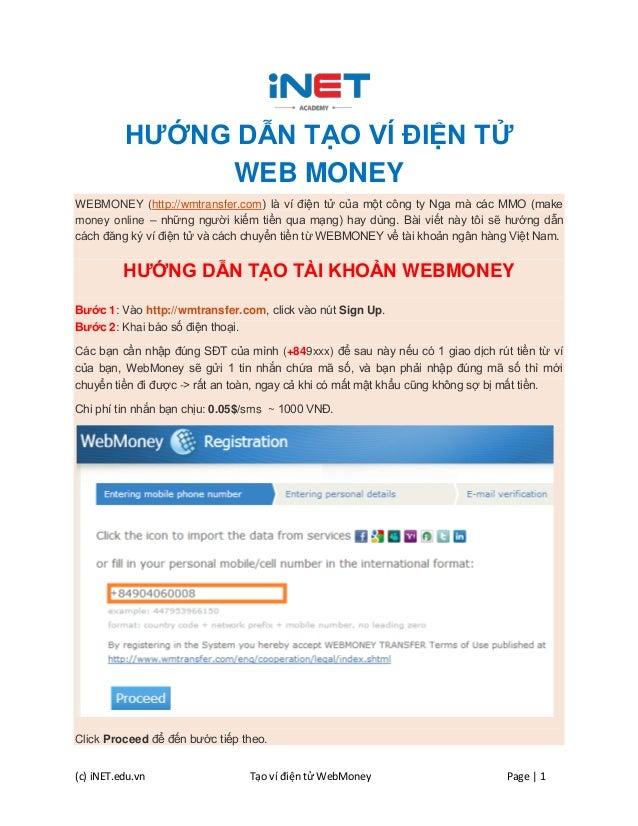 Huong dan tao tai khoan vi dien tu Webmoney