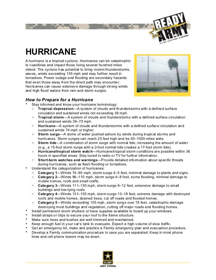 HURRICANEA hurricane is a tropical cyclone. Hurricanes can be catastrophicto coastlines and impact those living several hu...