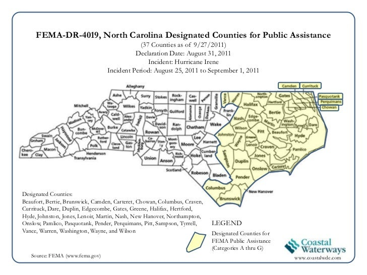 Updated on 9/27/11 - State Maps of Federally Declared Disaster showing FEMA Designated Counties for Public Assistance associated with Hurricane Irene