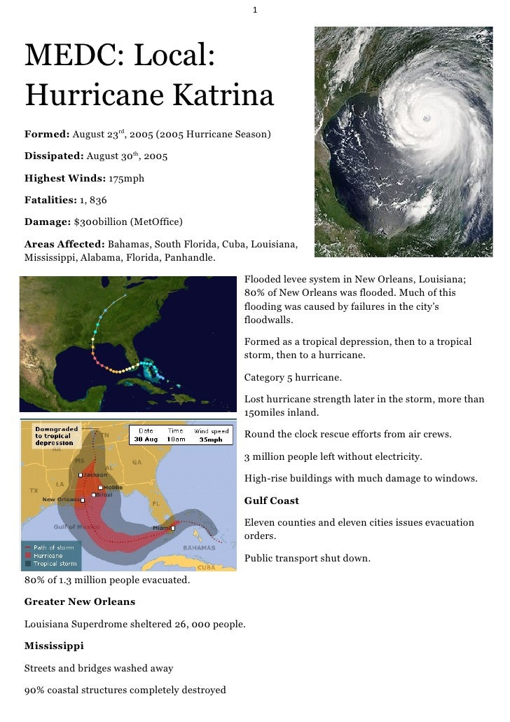 1MEDC: Local:Hurricane KatrinaFormed: August 23rd, 2005 (2005 Hurricane Season)Dissipated: August 30th, 2005Highest Winds:...