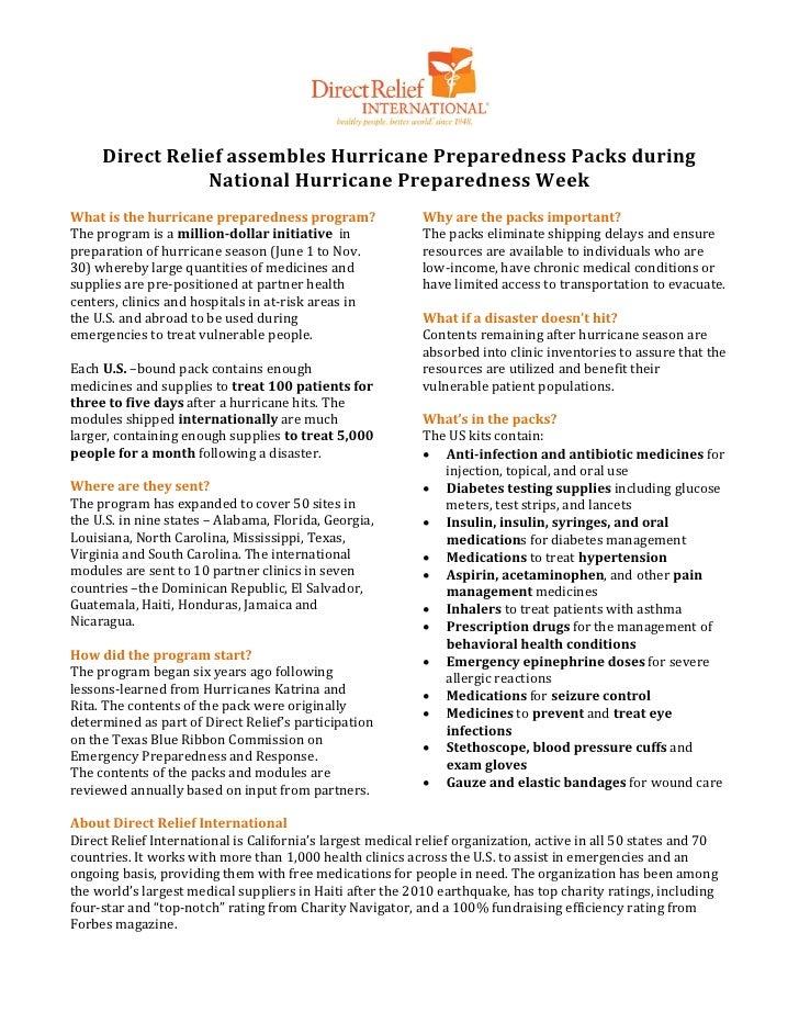 Direct Relief assembles Hurricane Preparedness Packs during                National Hurricane Preparedness WeekThe program...