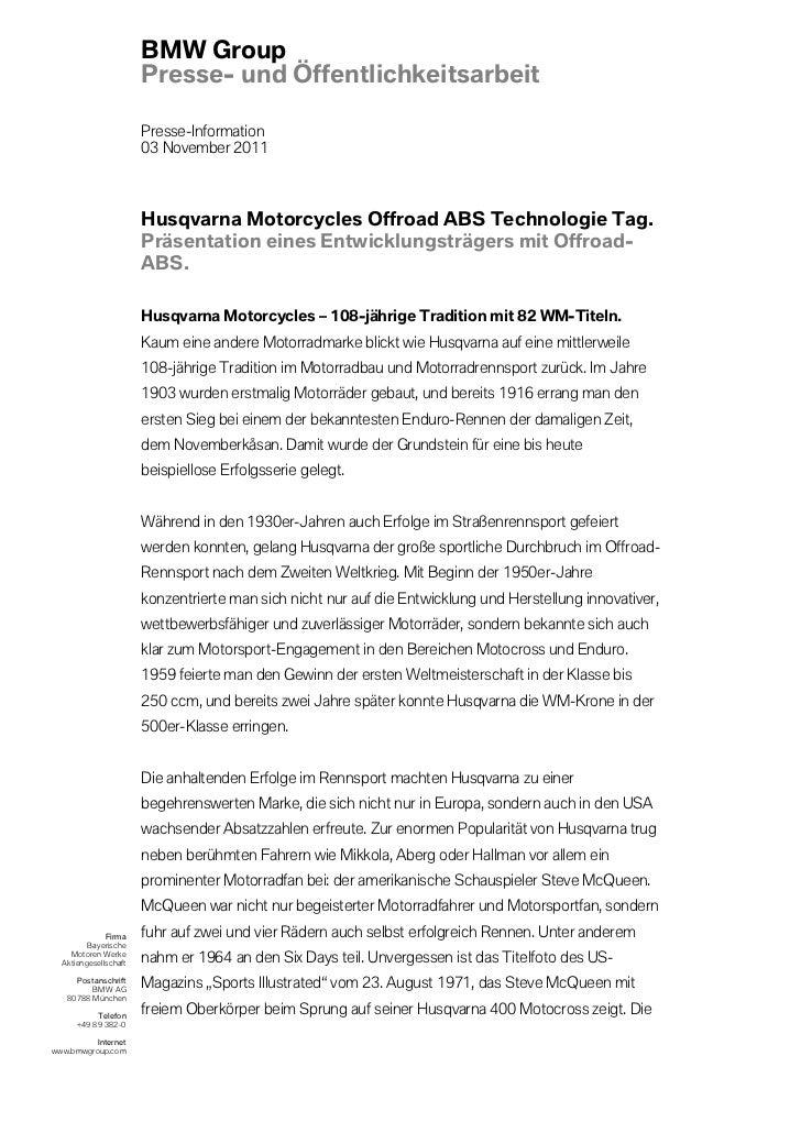BMW Group                       Presse- und Öffentlichkeitsarbeit                       Presse-Information                ...