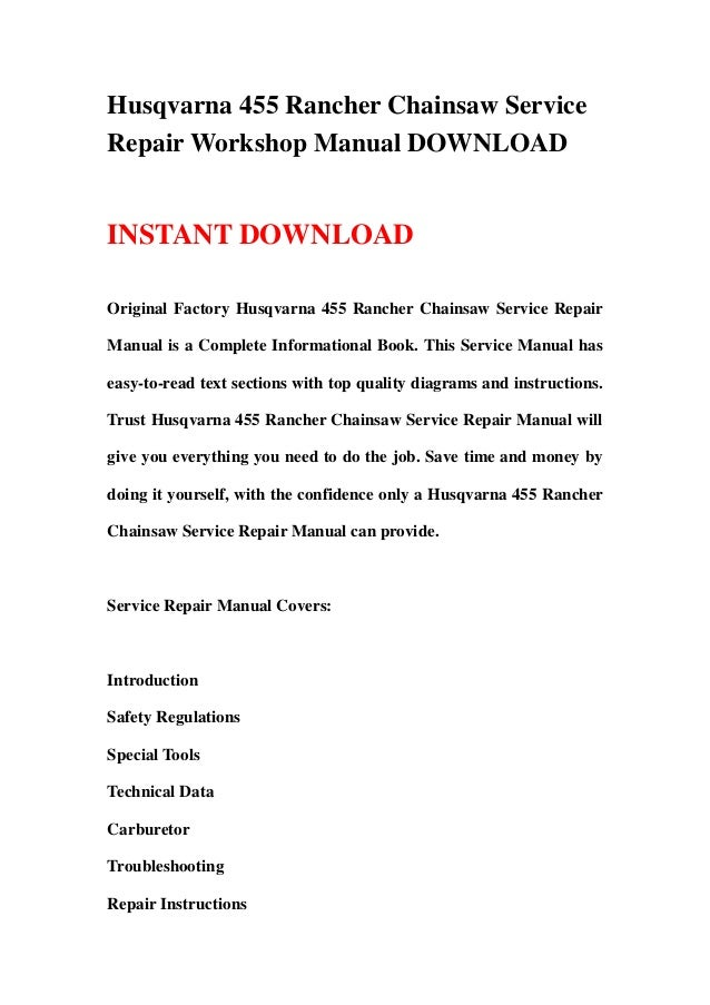 Husqvarna Chainsaw 455 Rancher Service Shop Manual Manual Guide