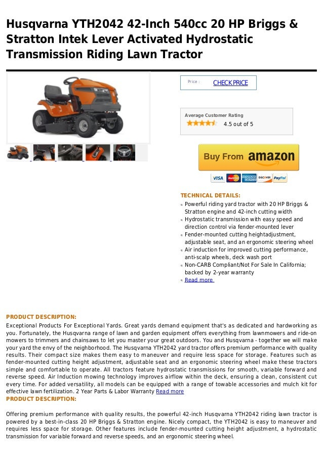 Husqvarna YTH2042 42-Inch 540cc 20 HP Briggs &Stratton Intek Lever Activated HydrostaticTransmission Riding Lawn Tractor  ...
