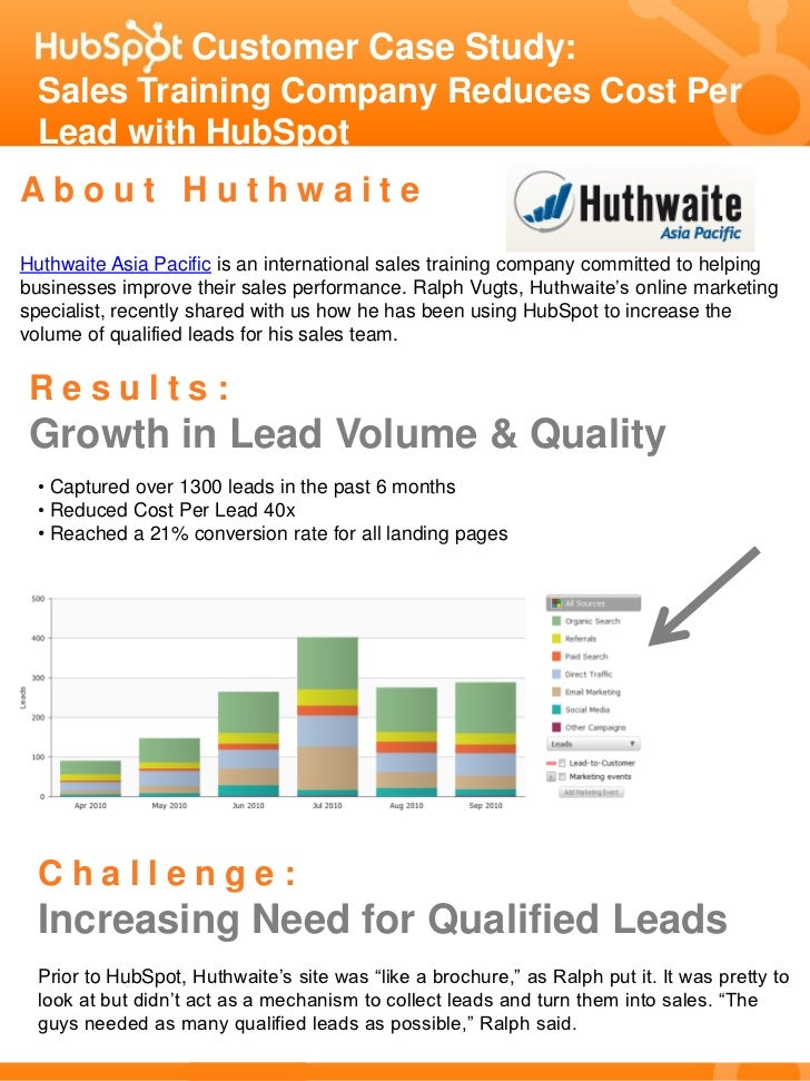 Customer Case Study:   Sales Training Company Reduces Cost Per   Lead with HubSpot About Huthwaite Huthwaite Asia Pacific ...