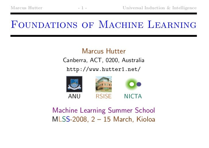 Marcus Hutter           -1-             Universal Induction & IntelligenceFoundations of Machine Learning                 ...