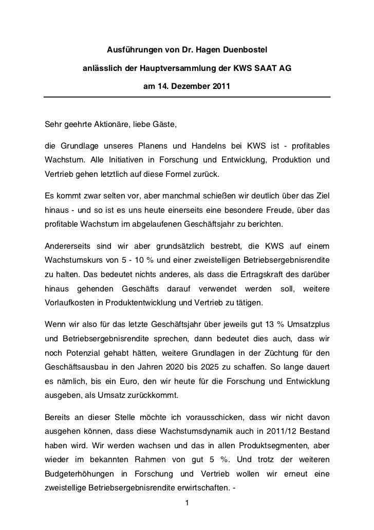 Ausführungen von Dr. Hagen Duenbostel          anlässlich der Hauptversammlung der KWS SAAT AG                            ...