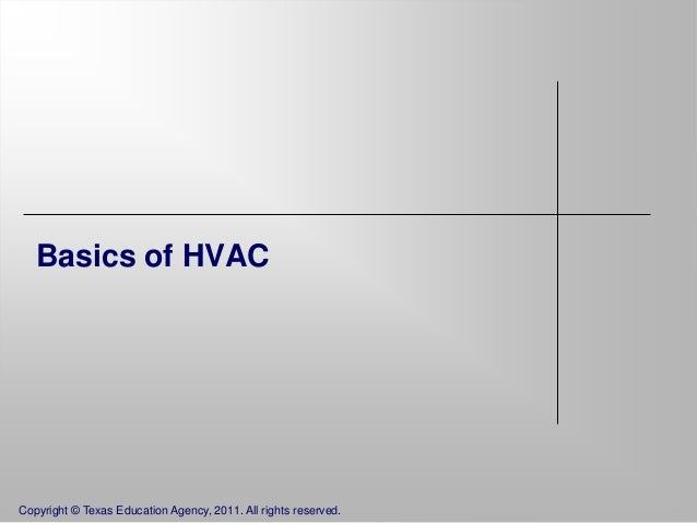 Basics of HVAC  Copyright © Texas Education Agency, 2011. All rights reserved.